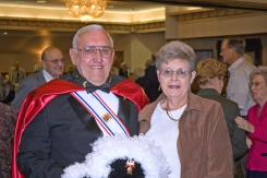 John Clark in his Knights of Columbus Fourth Degree honor guard regalia, along with wife Sandy.