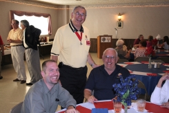 Bryan Langfeldt (left), Chet Leskowicz (1931-2014) and John Clark at a Knights of Columbus event.