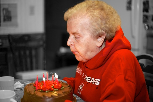 My mother at her birthday a few years ago. The effect works especially well with bright colors.