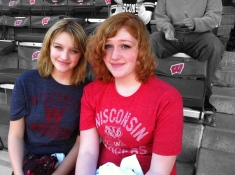 """My daughers Ruby (left) and Samantha at Camp Randall Stadium. Notice how I even color splashed the """"motion W"""" graphics on the seats."""